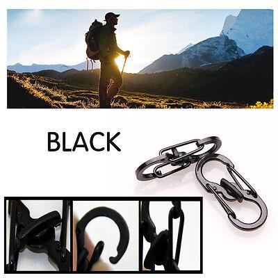 5PCS Outdoor Camping Hiking Micro Lock Keychain Locking Clips Carabiner Black