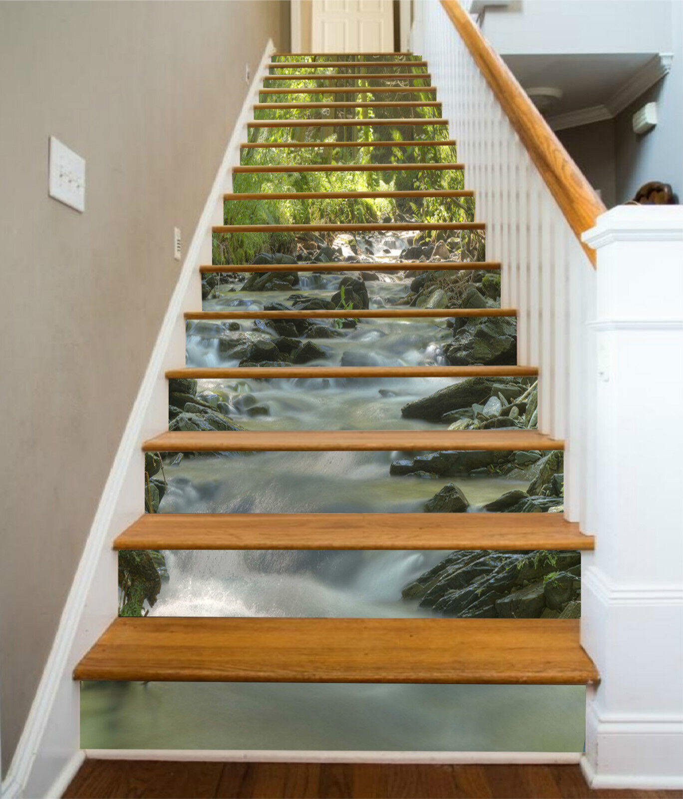 3D Wald Fluss 335 Stair Risers Dekoration Fototapete Vinyl Aufkleber Tapete DE