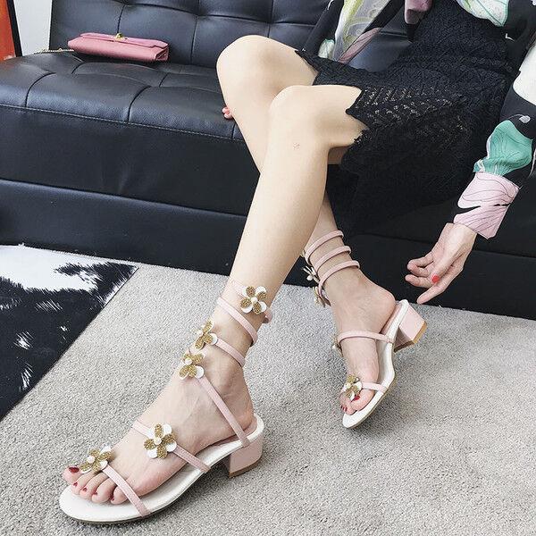 Sandaleei 7 cm eleganti strass bianco tacco quadrato Sandaleei simil pelle 1165