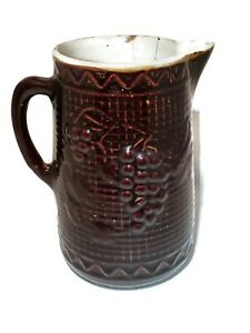 NorthStar-Brown-Salt-Glazed-Stoneware-Pitcher-Grapes-9-034-tall-Vintage-Antique