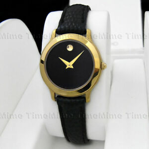 5609f97118f8 Women s Movado MUSEUM CLASSIC Gold Case Black Dial Leather Swiss ...
