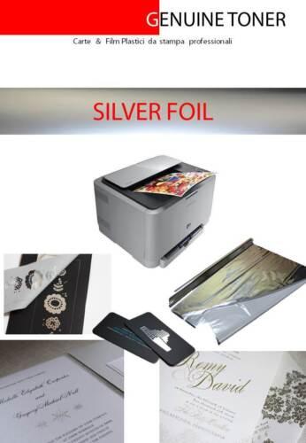 10 fogli A4 color ARGENTO SILVER foil transfer; laminazione su stampa laser