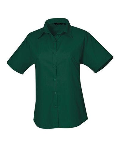 Premier Workwear Ladies Poplin Short Sleeve Blouse Damen 34-54 Teil 1 PW302 S