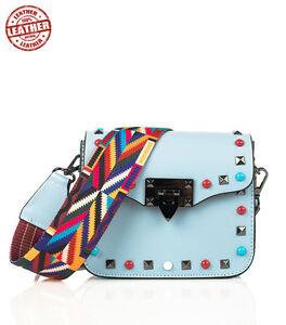 rivenditore di vendita 2ecc8 24828 Dettagli su borsa in vera pelle modello Rodi con borchie colorate e  tracolla fantasia