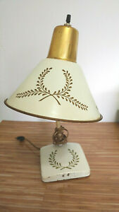 Vintage-Mid-Century-Metal-Tole-Lamp-Cream-White-Gold-Paint-Desk-or-Wall-Mount