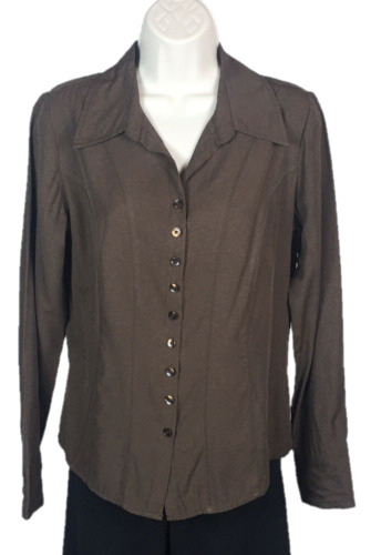 Womens Dressbarn Brown Button Down Shirt Size S Sm