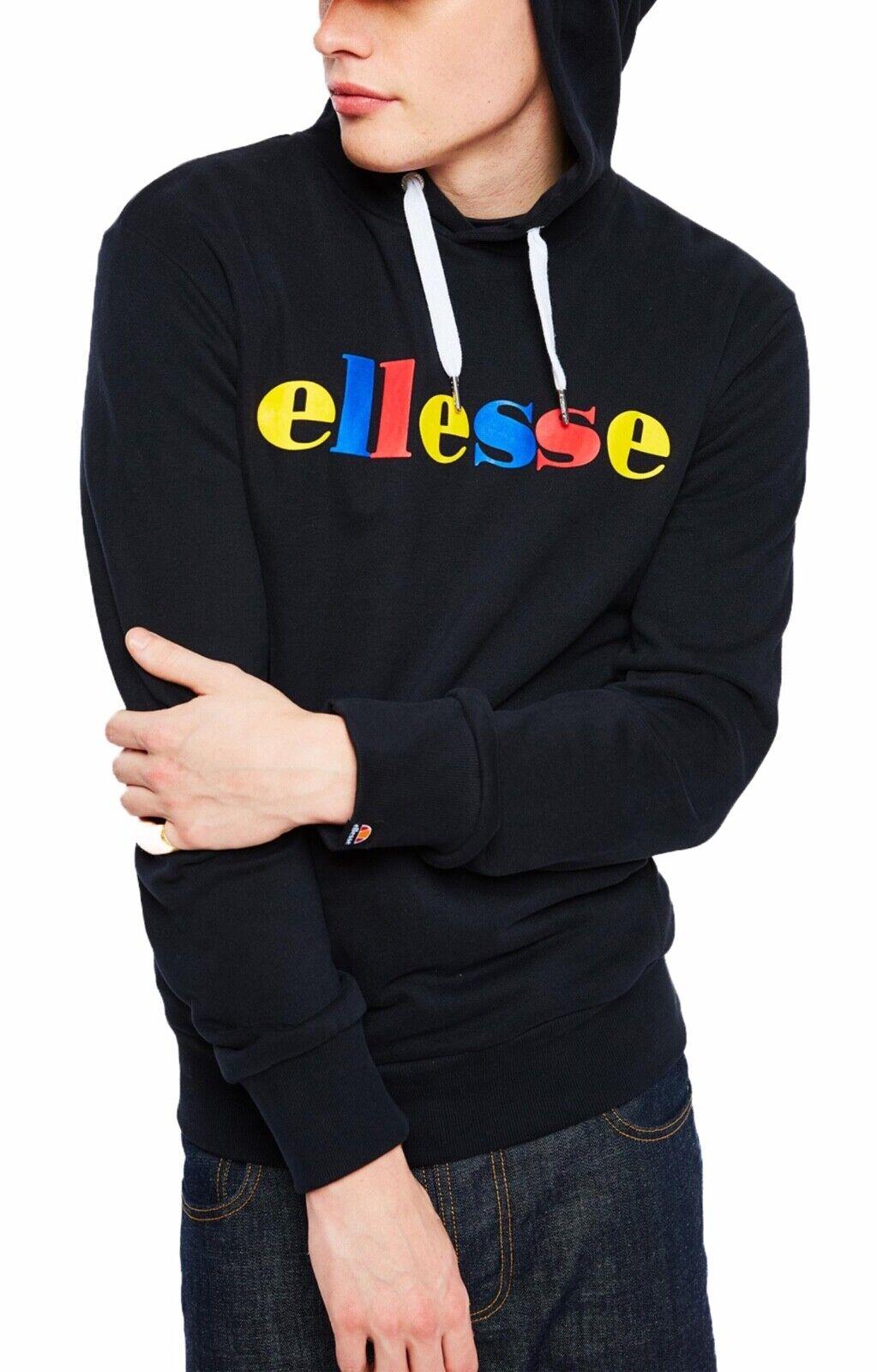 Ellesse Herren Gemeinkosten Norare Logo schweißhemd Top mit Kapuze Schwarz Kapuze