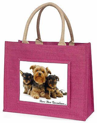 Yorkshire Terriers 'Liebe dich Oma' Große Rosa Einkaufstasche Chris, AD-Y3lygBLP