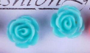 Studs Earrings Flower Blossom Rose Light Blue Silbefarbenes Metal