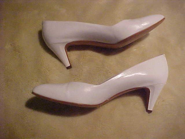 VINTAGE LADY'S LEATHER PUMP DRESS Weiß Schuhe AMALFI  VIVALE Weiß DRESS TOSCA CALF S 8.5 AA 1da6bc