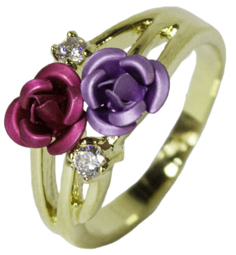 Women/'s 18 Kt Gold Plated Dress Ring Enamel Rose and CZ 044