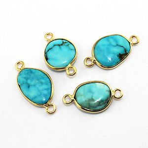 3 Pcs Natural Arizona Turquoise Gold Plated Bezel Connector DIY Making Jewelry
