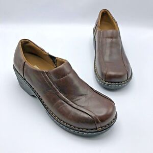 Eastland-Tracie-Women-Brown-Leather-Slip-On-Clog-Shoe-Size-7-5W-Pre-Owned
