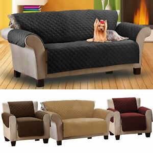 Three Seat Black Quilted Couch Home  Cover Pet Hair Protector Sofa Throw