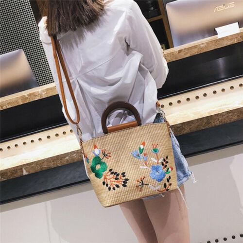Women Boho Flower Embroidery Rattan Strew Woven Messenger Beach Bag Handbags Z