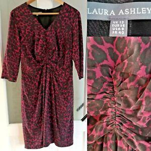Laura-Ashley-Vestido-Estampado-de-Leopardo-UK-12-Rojo-Mezcla-De-Seda-Forrado-Manga-3-4-Animal