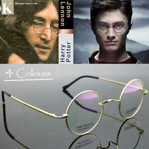 f657a0b98d7 Mens Pure Titanium Eyeglass Round Eyewear John Lennon Vintage Golden ...