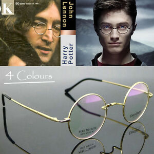 3c3bd358a49 Mens Pure Titanium Eyeglass Round Eyewear John Lennon Vintage Golden ...