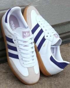 Détails sur Adidas Samba Og Baskets en Blanc & Violet Cuir avec gomme semelle rétro, vente afficher le titre d'origine