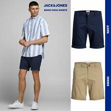 JACK&JONES Men's Bowie Solid Shorts Slim-Fit Stretchable Comfort, Navy or Khaki