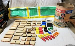 Details About Vintage 1971 Playskool Village 310 Wooden 80 Piece City Building Blocks W Mat