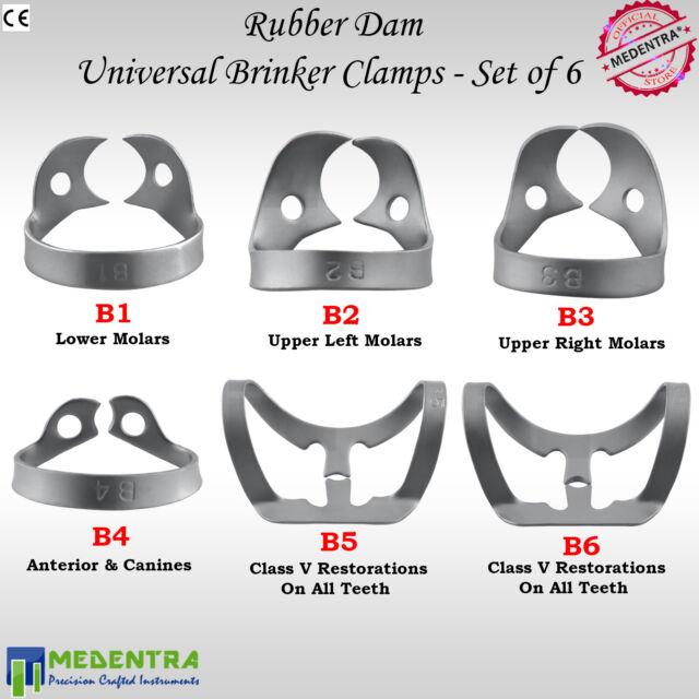 X6 BRINKER Rubber Dam Clamp Universal Clamps Upper Premolar Metal Clamp Anterior
