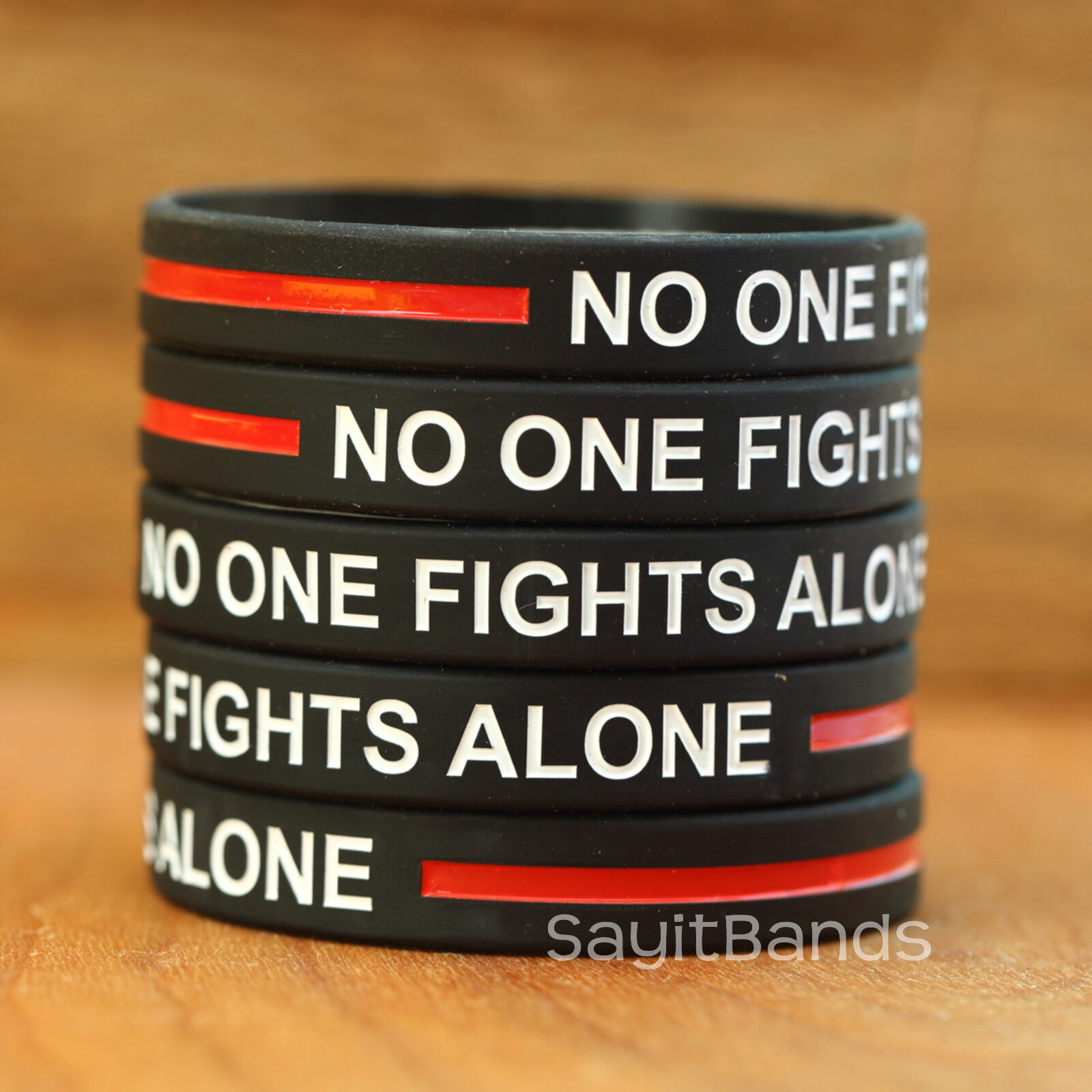 100 No One Fights Alone Thin RED Line Silicone Wristband Bracelet Firefighters