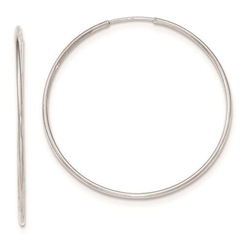 10K or blanc 1.2 mm sans fin Tube Boucles d/'oreilles Créoles