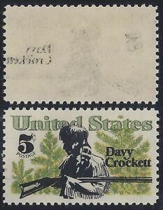 """1330 - Black Reverse Offset Error / EFO """"Davy Crockett"""" Mint NH"""