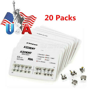 USA-20X-AZDENT-Dental-Orthodontic-Metal-Bracket-Braces-Mini-Roth-022-3-4-5-Hooks