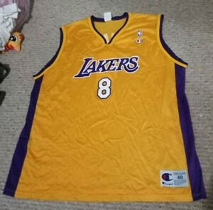 Details about Kobe Bryant champion Lakers 8 rookie jersey sz 48 xl yellow purple white MINT S7
