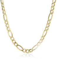 Figaro Chain 14k Yellow Gold Necklace Men Women Necklace 4.35mm 20 22 24