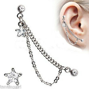 Star-316L-Surgical-Steel-Double-Chained-Cartilage-Earring-Extremely-Hot