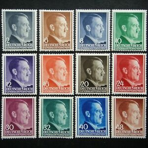 Germany Nazi 1941 1942 1943 Stamps MNH Adolf Hitler Generalgouvernement WWII Thi