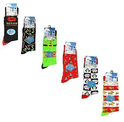 6 Paio Da Uomo Ragazzi Festive Feet Novità Natale Calzini Stockingfiller Regalo 6-11-mostra Il Titolo Originale