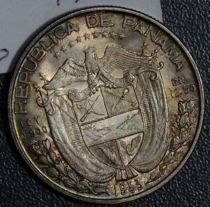 Panama-1953-1-2-Balboa-silver-stunning-toning-P0181-combine-shipping