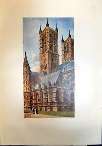 Original-Old-Antique-Print-Architecture-Lincoln-Cathedral-West-Towers-Colour
