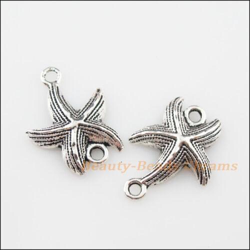 6Pcs Tibetan Silver Tone Starfish Charms Pendants Connectors 17x23mm