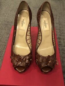 Valentino-Garavani-Brown-Perforated-Leather-Open-Toe-High-Heels-Size-38