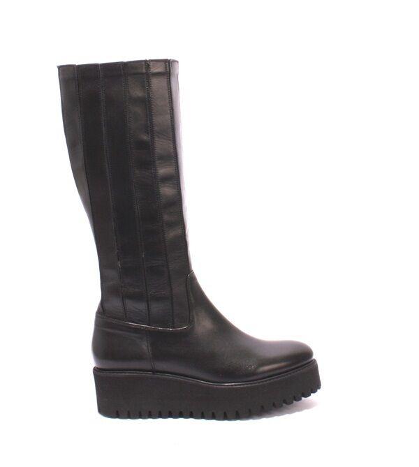 Luca Grossi 286 Negro mitad Cuero Stretch más de la mitad Negro de la pantorrilla botas 40 US 10 bfd4f5