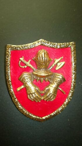 Vintage Gold Tone Heraldic Shield with Knight Arms