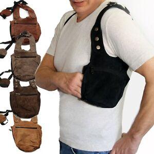 Leder-Halfter-Tasche-Holster-Schulterholster-goa-psy-security-bag-Schwarz-Braun