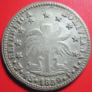 BOLIVIA-1859-FJ-4-SOLES-SILVER-ERROR-INVERTED-034-V-034-IN-034-BOLIVAR-034-BOLIVIAN-COIN-RRR