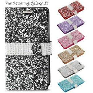 Samsung-Galaxy-J7-Wallet-Case-Cover-Magnetic-Flip-Diamond-Bling-Glitter