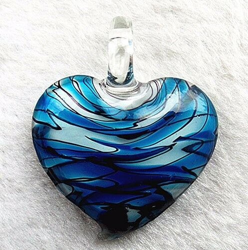 45x42x10mm Beautiful unique sky blue 3D love glass pendant bead Vk6466