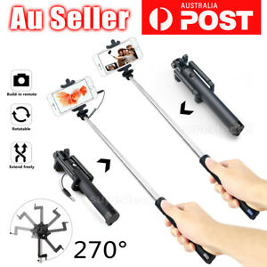NEW-Wired-Bluetooth-Extendable-Handheld-Remote-Selfie-Stick-Built-in-Remote-AU