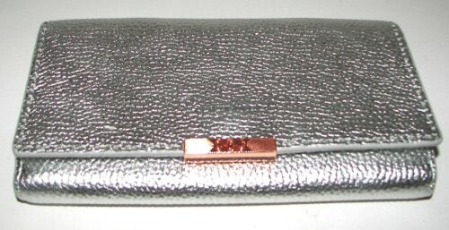 TED BAKER Janet Silver Leather Flap Clutch Wallet Purse Crossbody NWT