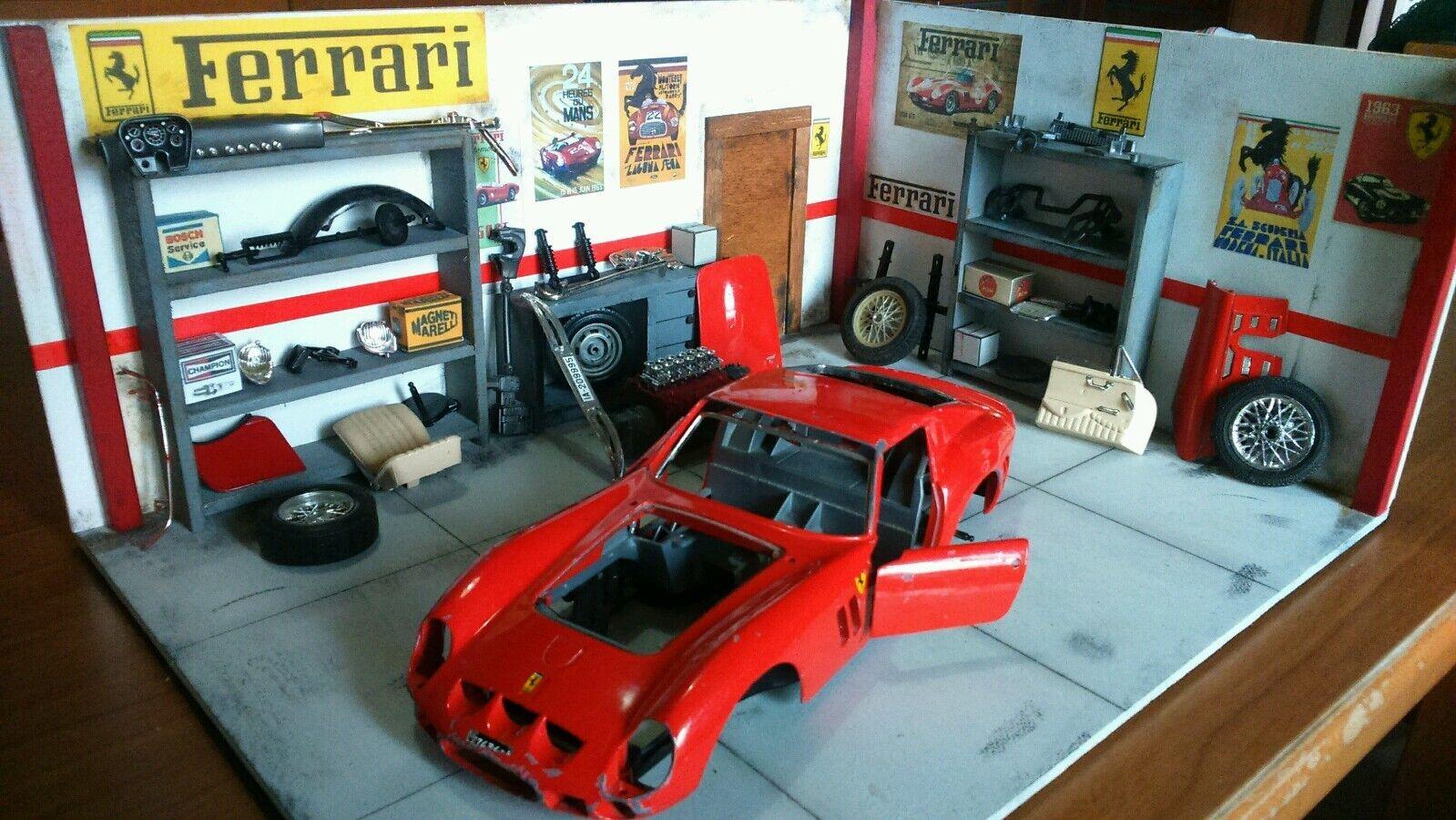 Diorama garage vintage FERRARI 1 18