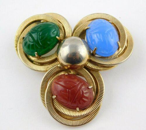 Onyx Vintage Goldtone Leaf Brooch with a Genuine Carved Scarab