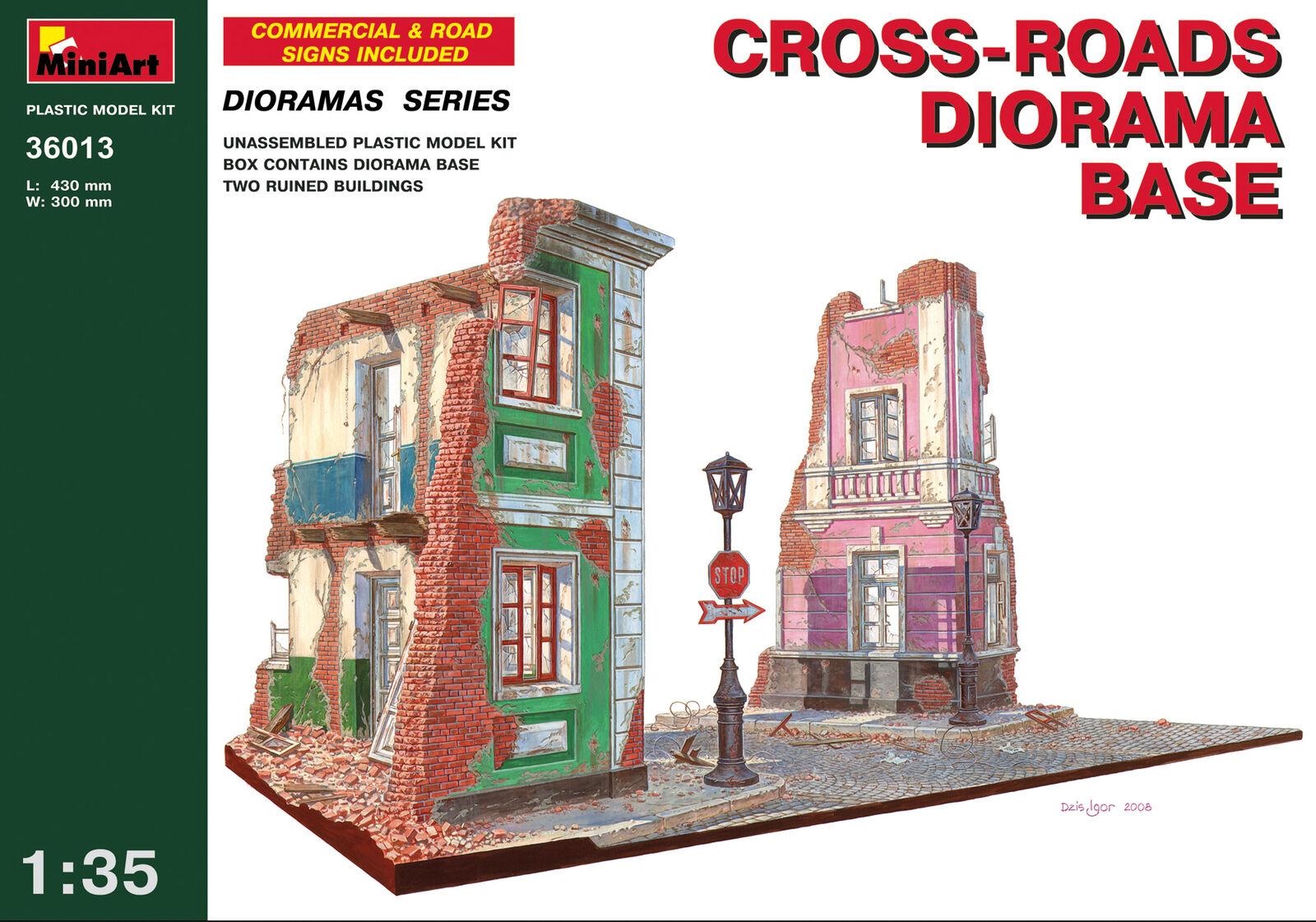 Minikonst 36013 -1  35 Cross -Roads Diorama Base skala Plastic modellllerler Kit 430 mm